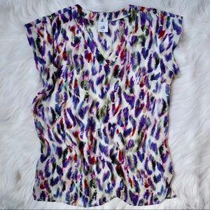 CAbi Feather Print Short Sleeve Blouse